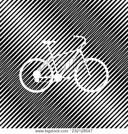 Bicycle, Bike Sign. Vector. Icon. Hole In Moire Background.