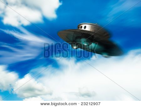 Ufo Moving In Cloudy Sky