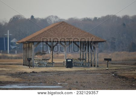 A Pavilion In Winter Near The Shore