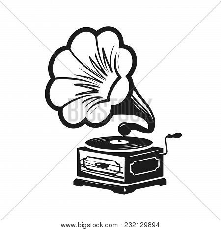 Gramophone, Phonograph Logo Or Label. Record Player Icon. Music Concept Vector Illustration Isolated