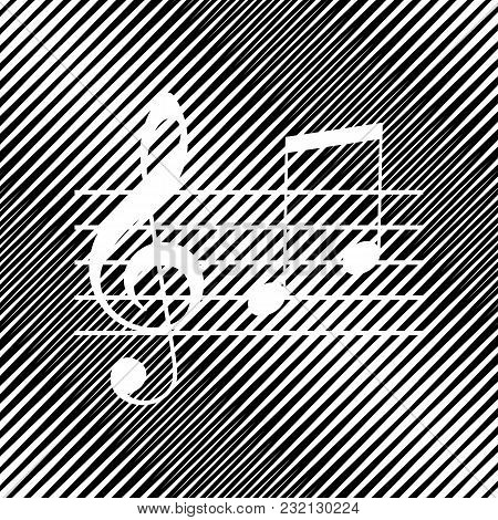 Music Violin Clef Sign. G-clef And Notes G, H. Vector. Icon. Hole In Moire Background.