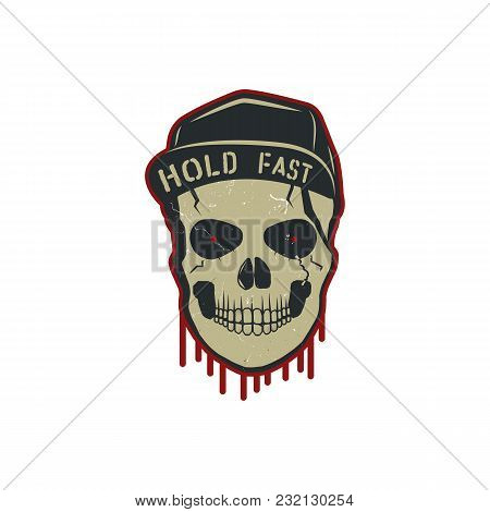 Skull Charactre With Blood Stains, Cap. Vintage Hand Drawn Street Style. Urban City Attributes. Retr