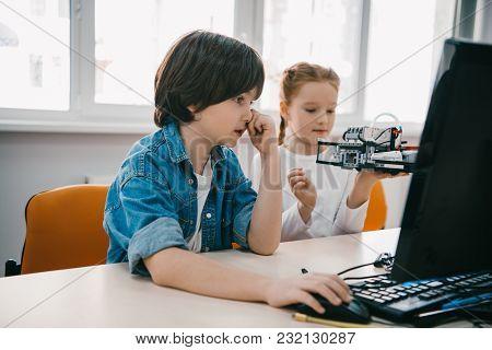 Children Programming Robots Together, Stem Education Concept