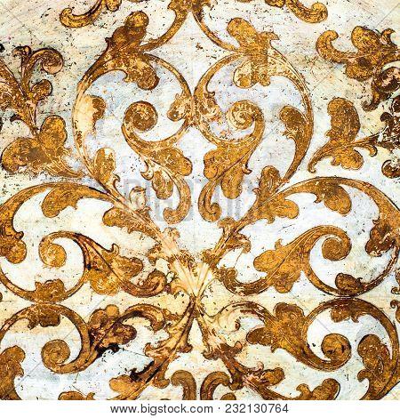 Gold Floral Rosette. Worn Ornamental Circular Pattern.