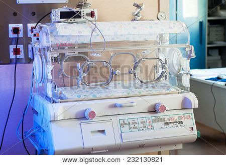 Infant Incubator Closeup. Technology In A Medical Center Hospital