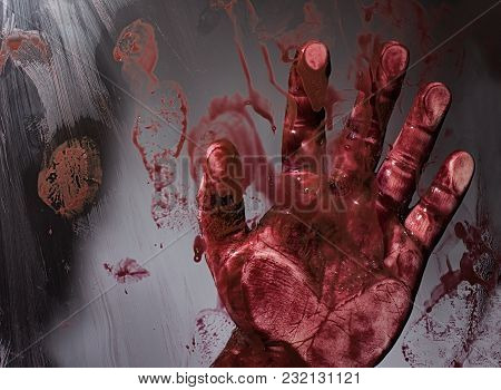 Scary Horror Bloody Victims Hand Touching Transparent Splattered Glass Depicting Murder Scene.