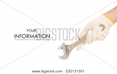 Construction Key In A Male Hand Build Gloves Pattern On A White Background Isolation