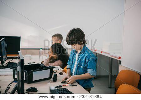 Little Kids Constructing Diy Robots, Stem Education Concept