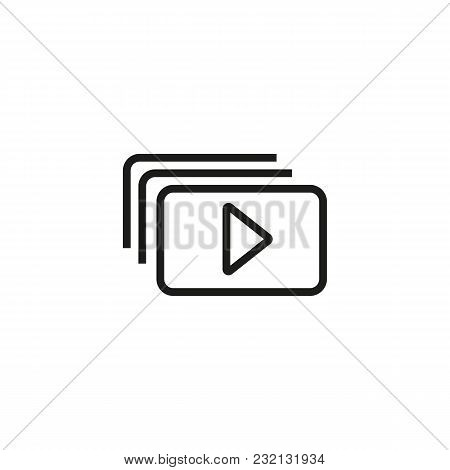 Playlist Line Icon. Media, Play Button, Gallery. Video Content Concept. Can Be Used For Topics Like