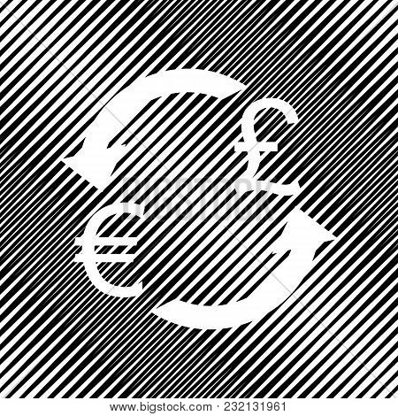 Currency Exchange Sign. Euro And Uk Pound. Vector. Icon. Hole In Moire Background.