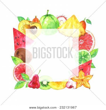 Hand Painted Square Fruit Frame. Watercolor Pineapple, Carambola, Kiwi, Rambutan, Watermelon, Kumqua