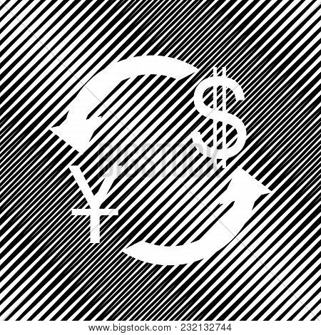 Currency Exchange Sign. China Yuan And Us Dollar. Vector. Icon. Hole In Moire Background.