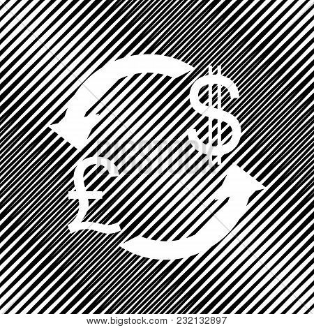 Currency Exchange Sign. Uk: Pound And Us Dollar. Vector. Icon. Hole In Moire Background.