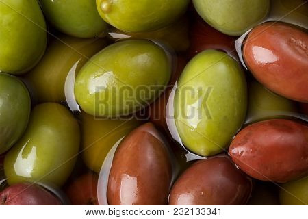 Heap Of Olives Ready To Eat  As Background