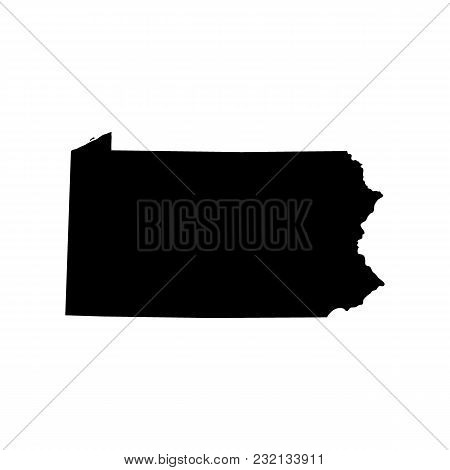 Map Of The U.s. State Of Pennsylvania On A White Background