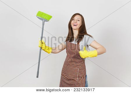 Young Smiling Housewife In Striped Apron, Yellow Gloves Isolated On White Background. Woman Showing