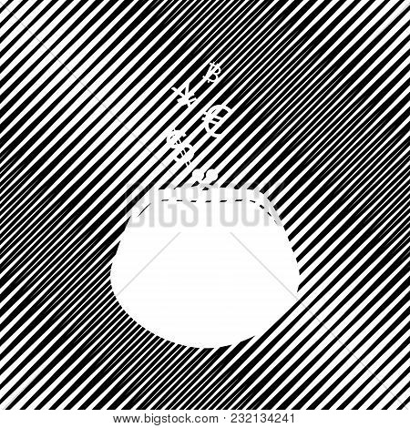 Wallet Sign With Currency Symbols. Vector. Icon. Hole In Moire Background.