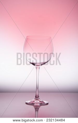 Wine Glass Blank On Colorful Abstract Background.