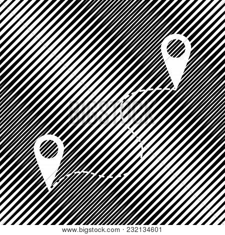 Location Pin Navigation Map, Gps Sign. Vector. Icon. Hole In Moire Background.