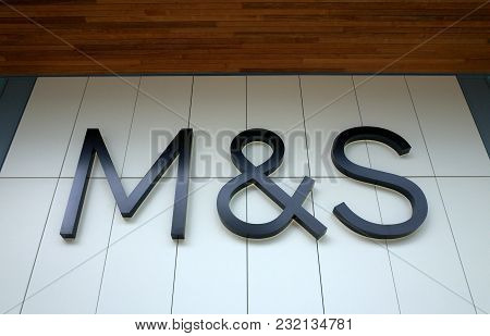 Bracknell, England - March 20, 2018: The M & S Logo Above The Entrance To The Marks And Spencer Stor
