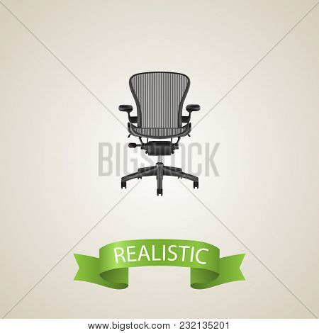 Office Chair Realistic Element. Vector Illustration Of Office Chair Realistic Isolated On Clean Back