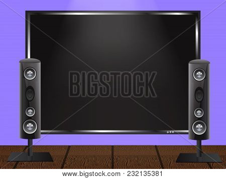 Vector Illustration Of A Concept Of Home Theater. Plasma Tv On The Wall And Audio Speakers On The Wo