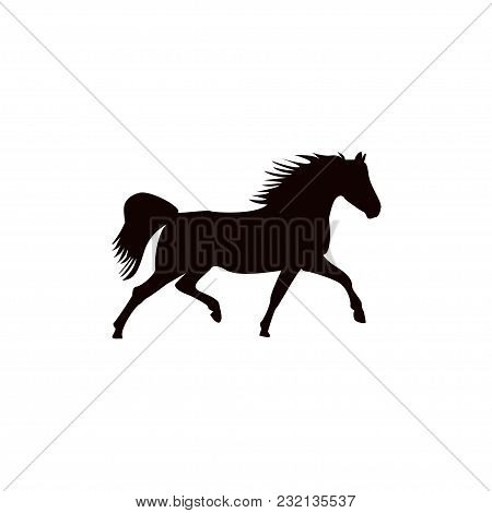 Running Horse Black Silhouette On White Background. Vector Illustration