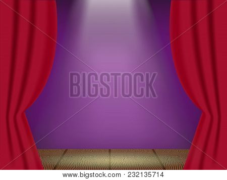 Open Red Curtains On The Theatre Stage With Three Rays Of Light. Vector Illustration.
