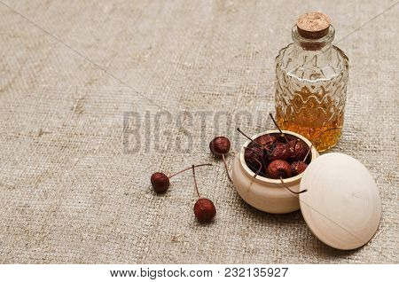 Herbal Medicine. Alternative Medicine Concept. Dry Organic Natural Ingridients. Wild Berry And And M