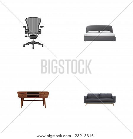 Set Of Furniture Realistic Symbols With Settee, Commode, Office Chair And Other Icons For Your Web M