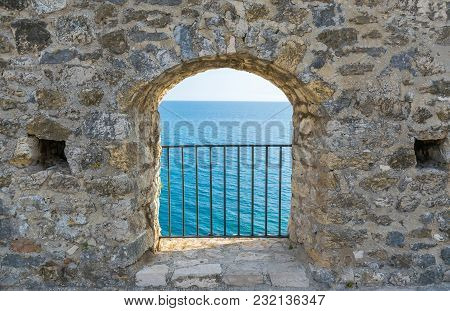 Picturesque Views Of The Adriatic Sea From A Height Of Serf Window.