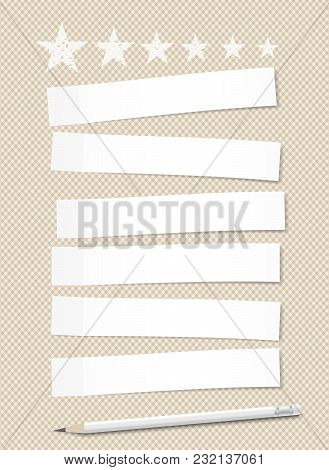 Set Of White Horizontal Sticky Notes Paper For Text Stuck On Brown Squared Background With Stars And