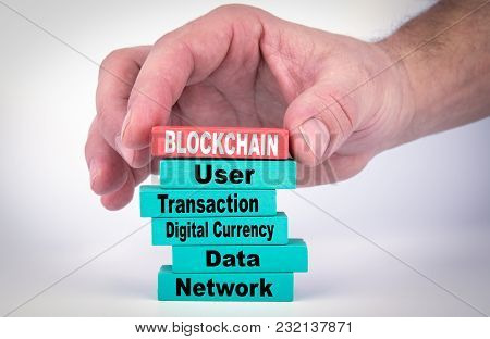 Blockchain. Business Concept With Colorful Wooden Blocks.