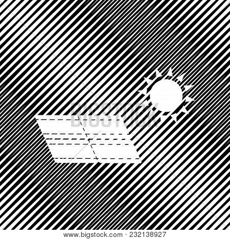 Solar Energy Panel. Eco Trend Concept Sign. Vector. Icon. Hole In Moire Background.