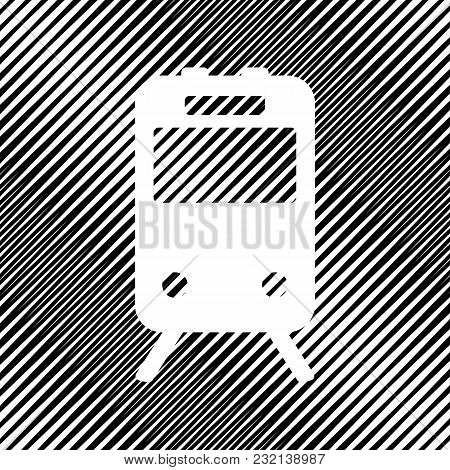 Train Sign. Vector. Icon. Hole In Moire Background.
