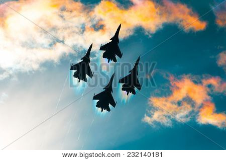 Group Of Airplane Fighter Jet Airplane Sun Glow Toned Sky