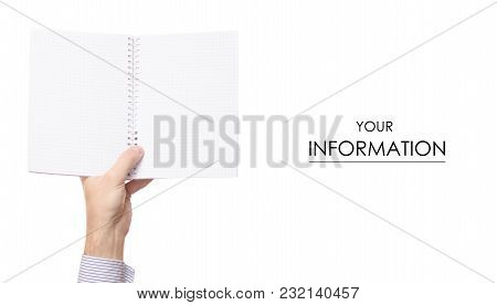 White Notepad In Hands Pattern On White Background Isolation
