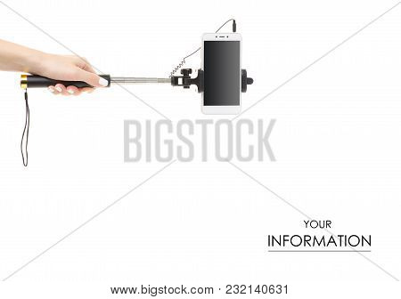 Smartphone And Selfie Stick In Hand Pattern On White Background Isolation