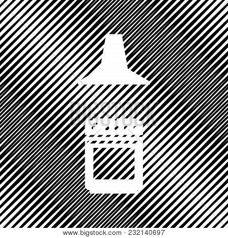 Electric Or Gas Stove And Extractor Kitchen Hood Sign. Vector. Icon. Hole In Moire Background.