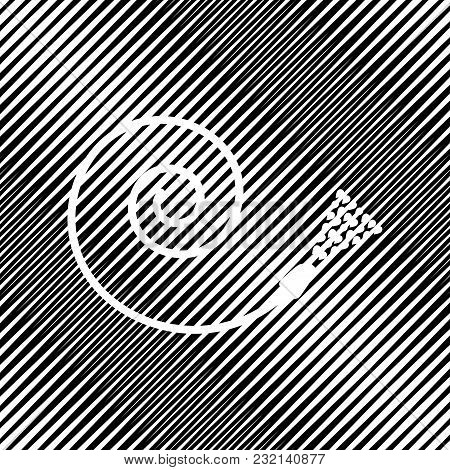 Garden Hose Sign. Vector. Icon. Hole In Moire Background.
