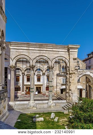 Colonnade Of The Peristyle (peristil) Square. View From The Cathedral, Split, Croatia