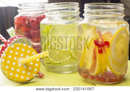Fresh Cold Water With Lemon, Lime And Carambola Slices
