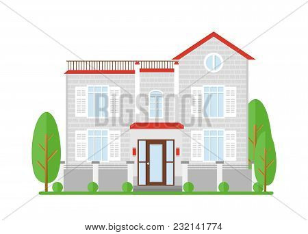Vector Illustration Of Real Estate, House For Sale. Home Of Family Dream. Facade Apartment House, Co