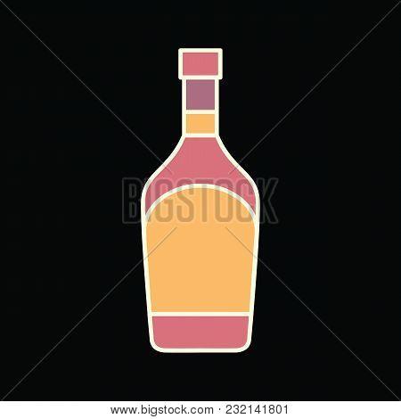 Whiskey Bottle Icon. Cartoon Whiskey Bottle Vector Icon For Web Design Isolated On Black Background