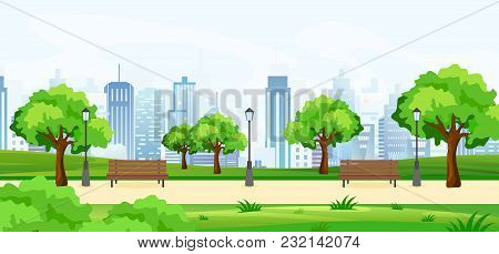 Vector Illustration Of A Beautiful Summer Park, With Green Trees And Benches, Panoramic View On Big