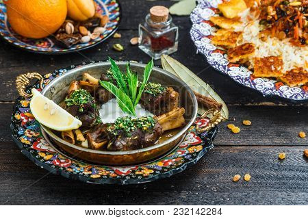 Lamb Shanks With Yoghurt And Mint, Arabian Style.