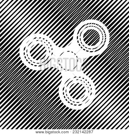 Fidget Spinner Sign. Vector. Icon. Hole In Moire Background.