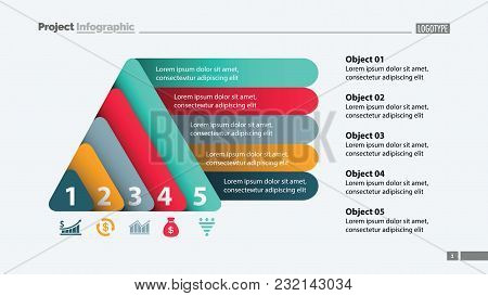 Five Elements Process Chart Slide Template. Business Data. Review, Diagram, Design. Creative Concept