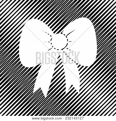 Bow Sign Illustration. Vector. Icon. Hole In Moire Background.