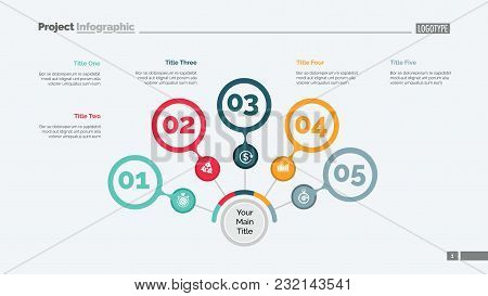 Five Steps Process Chart Slide Template. Business Data. Option, Step, Design. Creative Concept For I